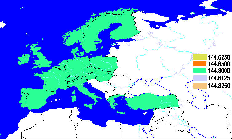 European APRS Frequency map